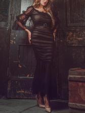 Euro Gauze Patchwork Long Sleeve Maxi Dress