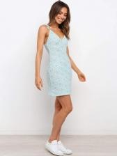 Ditsy Printed V Neck Camisole Sleeveless Dress