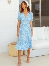 Elegant Ditsy Printed V Neck Casual Dresses