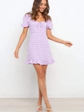 Euro Square Neck Plaid Short Sleeve Dress