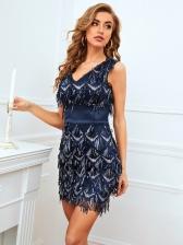 Slim Fit V Neck Tassels Sequined Sleeveless Dress