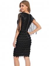 Crew Neck Tassels Gauze Patchwork Sequined Sleeveless Dress