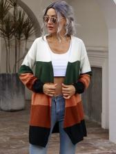 Euro Color Block Long Sleeve Cardigan For Women