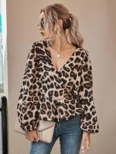 Deep V Leopard Printed Blouses For Women
