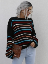 Classic Style Striped Long Sleeve Ladies Sweater