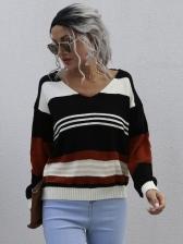 Euro Color Block Striped V Neck Sweater