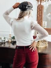 Lace Panel Solid Women Turtleneck Blouse
