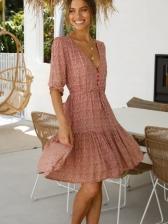 Summer Ditsy Printed Half Sleeve Dresses For Women
