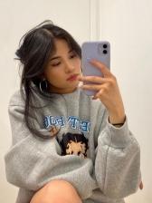 Loose Cartoon Printed Fluffy Sweatshirts For Women
