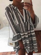 Summer Geometry Print V Neck Long Sleeve Dress