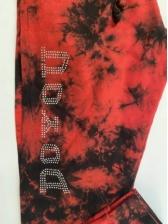 Fashion Tie Dye Letter Rhinestone Long Pants