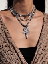 Fashion Rhinestone Heart Cross Necklace Street