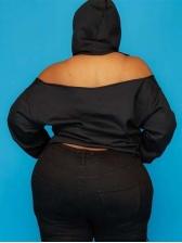 Solid Leisure Leakage Shoulder Plus Size Hoodies Women