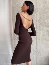 Sexy Backless Chain Long Sleeve Dress