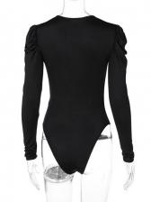 Sexy V Neck Puff Sleeve Bodysuit
