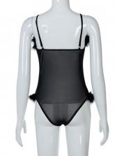 Club Gauze Patchwork Black Bodysuit