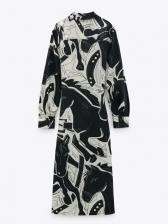 New Chiffon Print Long Sleeve Dress