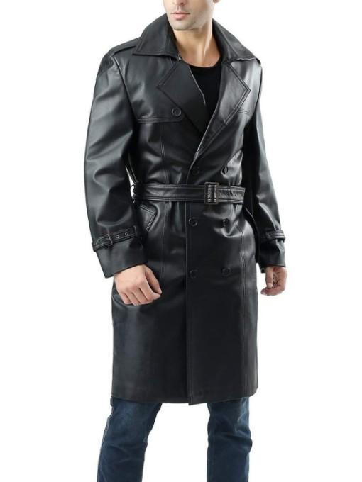 Winter Leather Black Long Coat Men