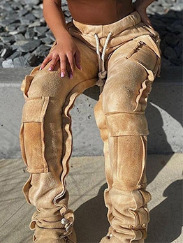 Euro Pockets Drawstring Ladies Cargo Pants