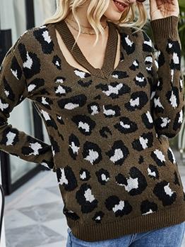 Leopard Print Knit V Neck Sweater