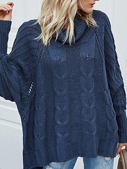 Solid Color Bat Sleeve Turtleneck Sweater
