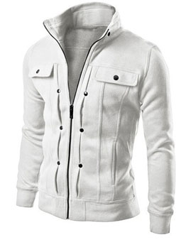 Fashion Solid Zipper Mens Winter Coats