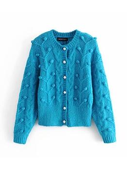 Pom Pom Crew Neck Cardigan Sweater