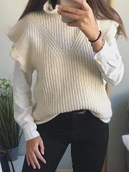 Chic Stand Collar Ruffled Sweater Vest