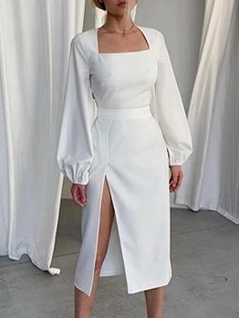 Square Neck High Slit Long Sleeve Midi Dress
