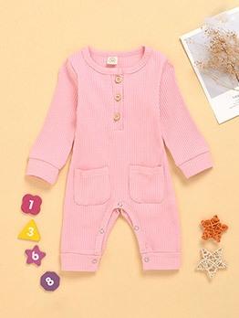 Pockets Crew Neck Baby Sleepsuit For Autumn