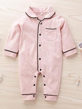 Single-Breasted Pockets Pajamas Sleepsuit