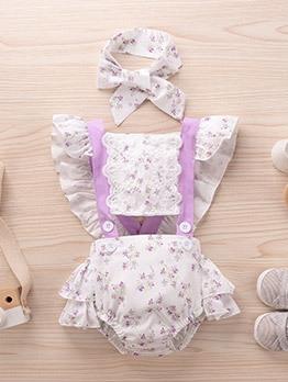 Lace Patch Floral Purple Romper Sets For Little Girls