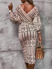 Low Cut Lantern Sleeve Print Ladies Dress