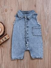 Single-Breasted Blue Sleeveless Romper For Kids