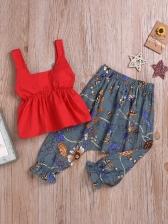 Square Neck Flower Print Pants Set For Girls