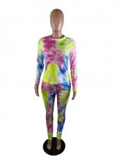 Plus Size Long Sleeve Tie Dye Two Piece Set