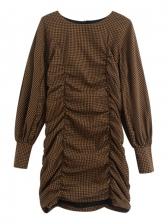Fashion Draped Plaid Long Sleeve Dress
