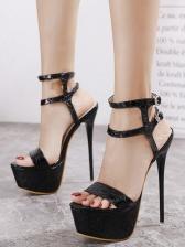 Night Club Solid High Heel Platform Sandals