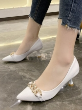 Euro Pointed Toe Chain Decor Pumps Shoes