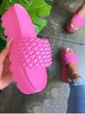 Summer Round Toe Woven Platform Ladies Slippers