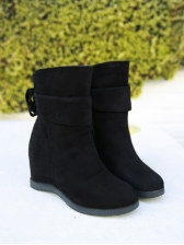 Euro Solid Round Toe Suede Womens Boots