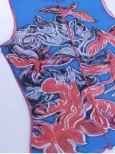 Printed O Neck Sleeveless Tank Tops For Women