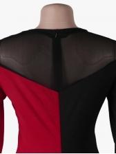 Seductive Color Block Gauze Patchwork Long Sleeve Jumpsuit