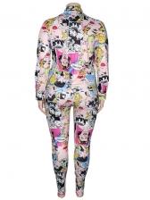 Plus Size Colorful Printed Two Piece Pants Set