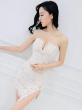 Deep V Neck Nightclub Lace Strapless Dress