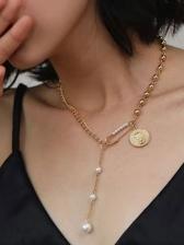 Particular Faux-Pearl Simple Versatile Necklace