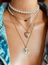 Vintage Heart Shape Faux-Pearl Pendant Necklace