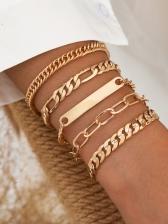 Punk Style Street Solid Chain Bracelet Set