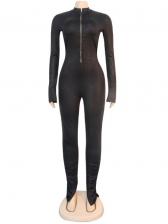 Zipper Backless Black Long Sleeve Jumpsuit