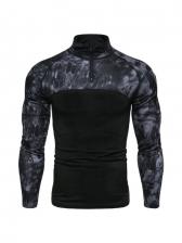 Outdoor Camouflage Zipper Tee Shirt